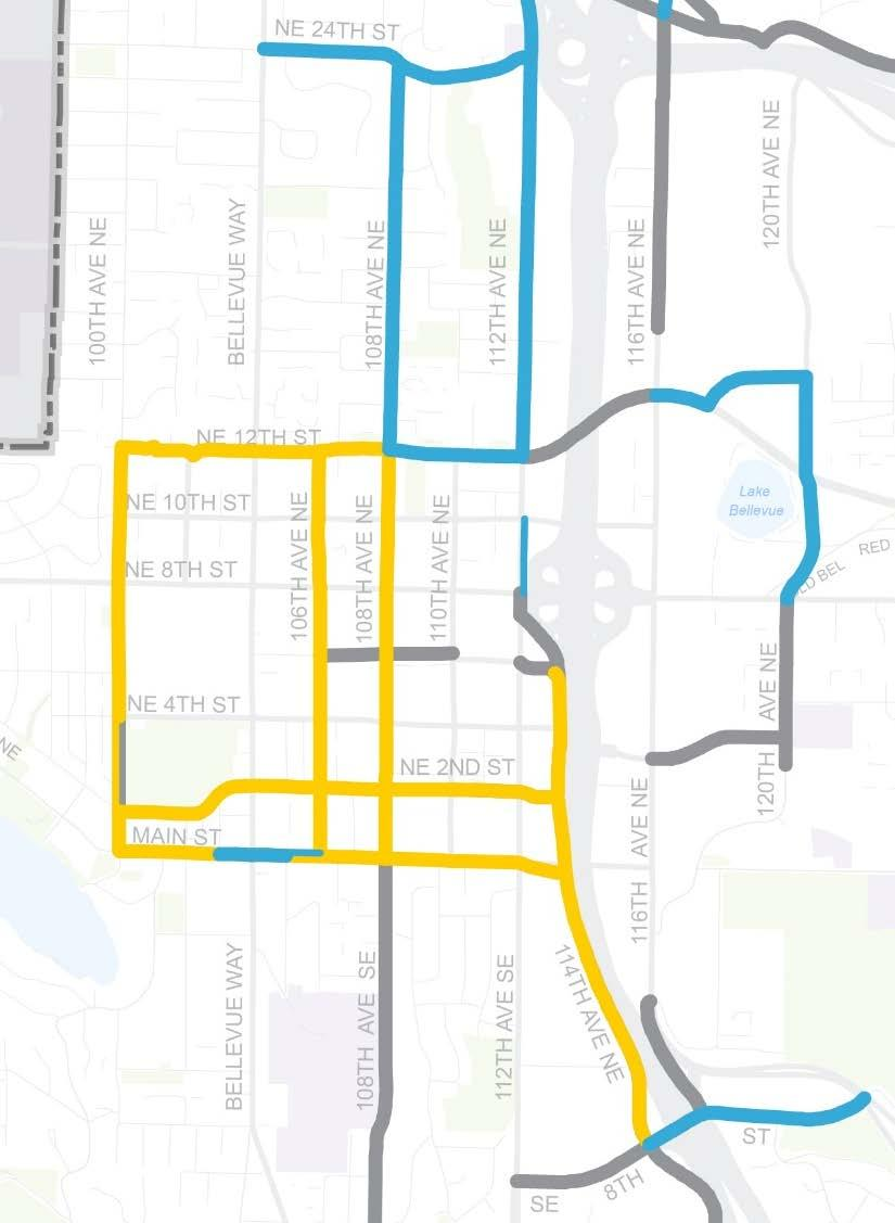 Downtown Bicycle Network Candidate Corridors: North-South 100th Ave NE 106th Ave NE