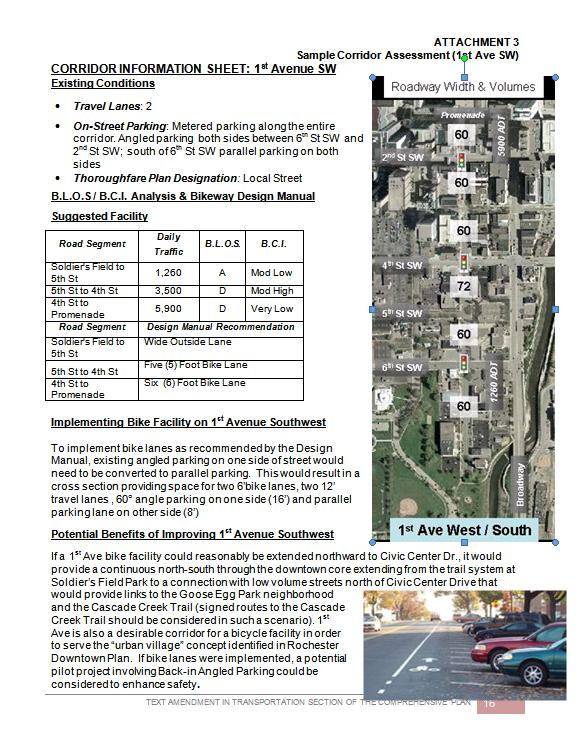 Sample Corridor Assessment Corridor Information Sheet includes: Travel Lanes BLOS and BCI