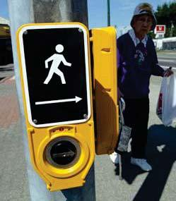 Pedestrian Friendly Signals at Intersections Signalized intersections can be designed to better accommodate pedestrians in a number of ways, including lengthening the WALK/ DON T WALK signal cycle