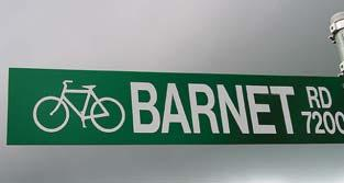 Bicycle warning signs alerting vehicle drivers to share the road should also be used.