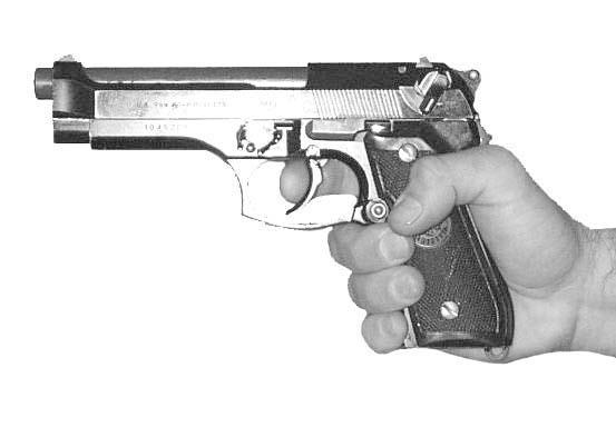 FM 3-23.35 Figure 2-1. One-hand grip. b. Two-Hand Grip. The two-hand grip allows the firer to steady the firing hand and provide maximum support during firing.