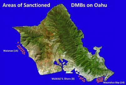Oahu Day-Use Moorings Map 1. Overview of all sanctioned DMB locations on O`ahu in 2014. Red dots indicate numbers of and general locations (not precise location) of sanctioned DMB sites. Map 2.
