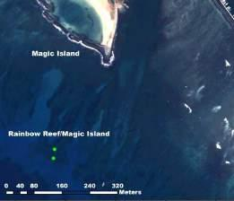 Oahu Day-Use Moorings Map 4. Focused view of Rainbow Reef/Magic Island (South Shore). DMBs include Rainbow Reef /Magic Island 1 and 2.