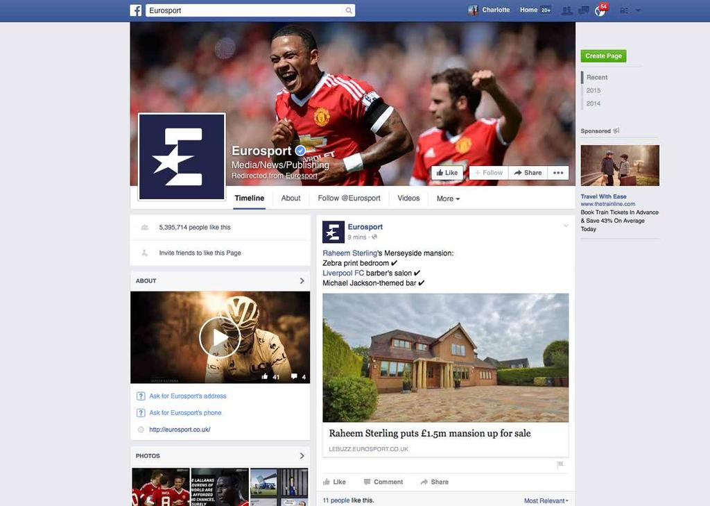13.2 FACEBOOK ICON 46 The Eurosport Facebook account is primarily a news-based feed and is localised to the viewer.