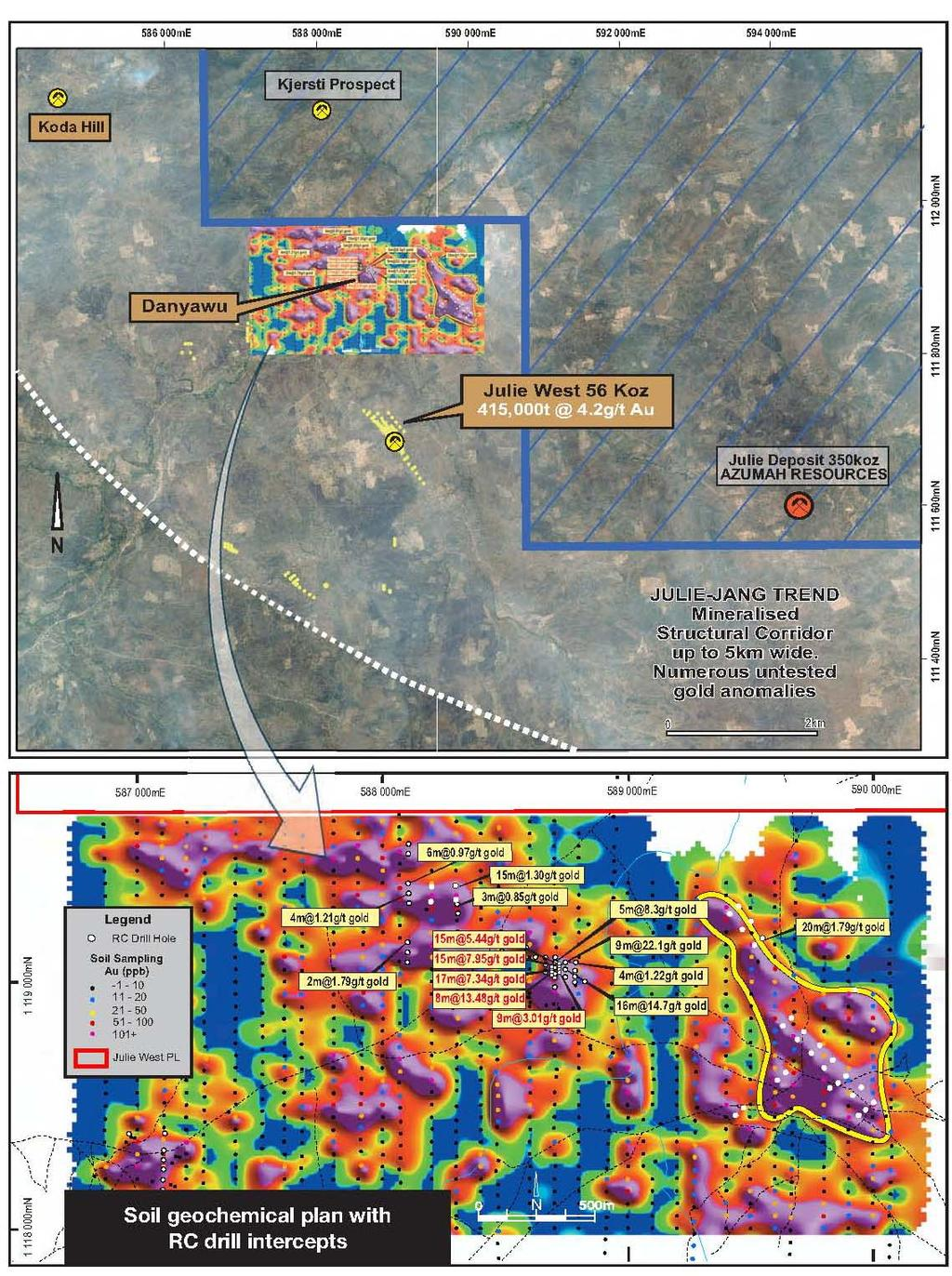 An RC program consisting of 10 vertical holes was completed in the area where previous work by Castle had intersected 16m @ 14.7g/t gold from 44m (JWRC 220), 9m @ 22.1g/t gold (JWRC 128) and 5m @ 8.