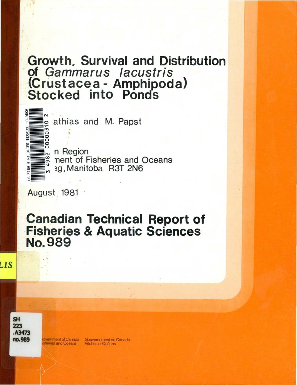"Growth. Survival and Distribution of Gammarus /acustris (Crustacea- Amphipoda) Stocked into Ponds <J: ""'~ ~ N. ~ o athias and M. Papst.!J..-- ~=--~'(')."