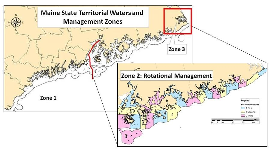 9 Figure 5. Maine s scallop management zones within three nautical miles. Insert: Zone 2 s rotational management plan.