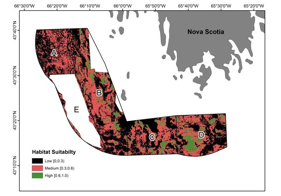 34 Figure 12. Scallop habitat suitability map from the Maxent Species Distribution Model (Brown et al., 2012) binned by Low [0, 0.3), Medium [0.3, 0.6) and High [0.6, 1.