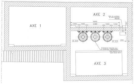 goods, Traffic speed restricted to 50 km/h for transit tunnels and 10 km/h for the accesses to parking lots. Cross sections are shown in the sketches below.