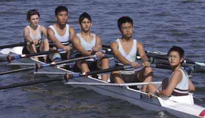 Rowing Fourth Year Nine Quad Scull Bow: H.Rabone, 2: N.Tang, 3: A.Pereira, Stroke: A.Bui, Cox: H.Zhu. Sheds the best place to be for the last 6 years.