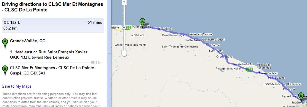 CYCLE TOURING GASPE 17 of 96 NEAREST HOSPITAL & DIRECTIONS The nearest Hospital to our camp area is CLSC Mer et