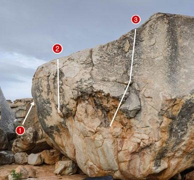 A Gaia Boulder A1 Gaia s Arete 7a Sit start on Small Holds. Then move to Slopey Crimp and Sidepull. Do a dynamic move to crack and top out.