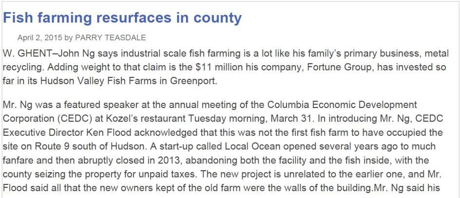 Hudson Valley Fish Farms, W.