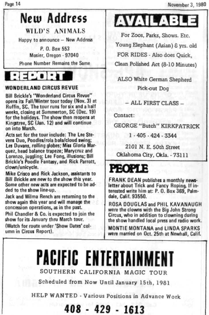 Page 14 Novembers, 1980 New Address WILD'S ANIMALS Happy to announce - New Address P. 0. Box 553 Mosier, Oregon - 97040 Phone Number Remains the Same For Zoos, Parks, Shows. Etc.