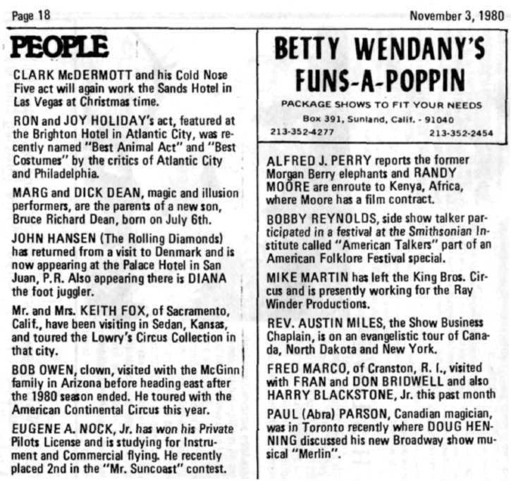 Page 18 Novembers, 1980 PEOPLE CLARK McDERMOTT and his Cold Nose Five act will again work the Sands Hotel in Las Vegas at Christmas time. RON and JOY HOLIDAY'S act.