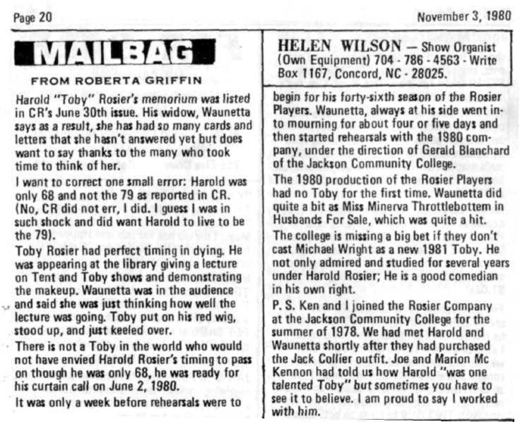"Page 20 November 3, 1980 FROM ROBERTA GRIFFIN Harold ""Toby"" Hosier's memorium was listed in CR's June 30th issue."