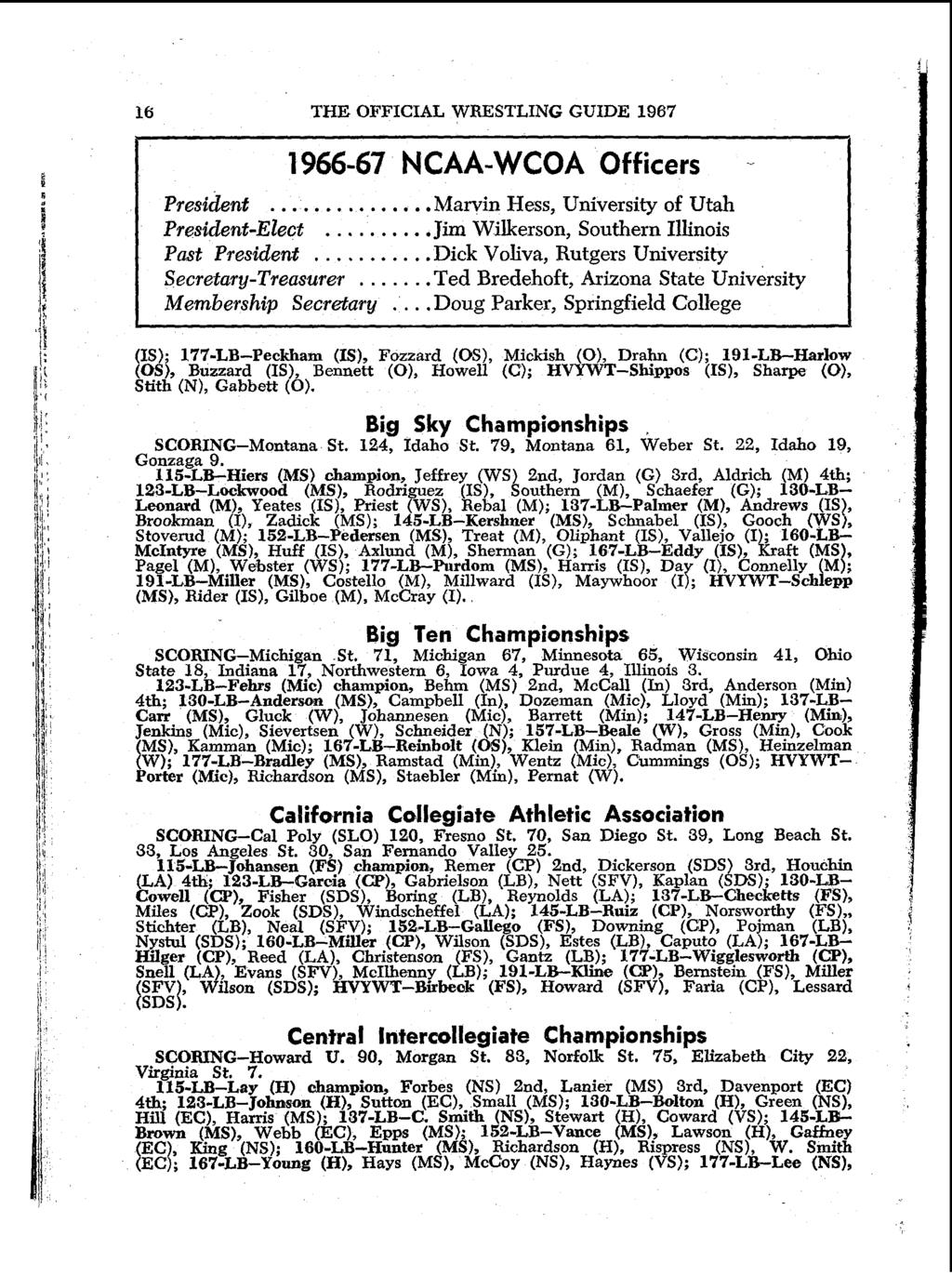 16 THE OFFICIAL WRESTLING GUIDE 1967 1966-67 NCAA-WCOA Officers - President.....Marvin Hess, University of Utah President-Elect..Jim Wilkerson, Southern Illinois Pat President.