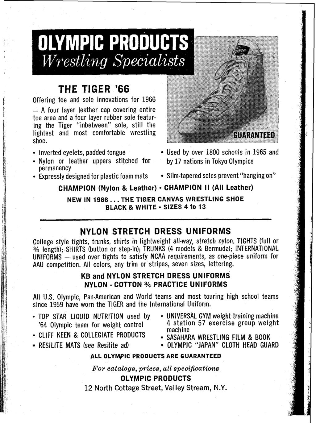 "THE TIGER '66 Offering toe and sole innovations for 1966 - A four layer leather cap covering entire toe area 2nd a four layer rubber sole featuring the Tiger ""inbetween"" sole, still the lightest and"