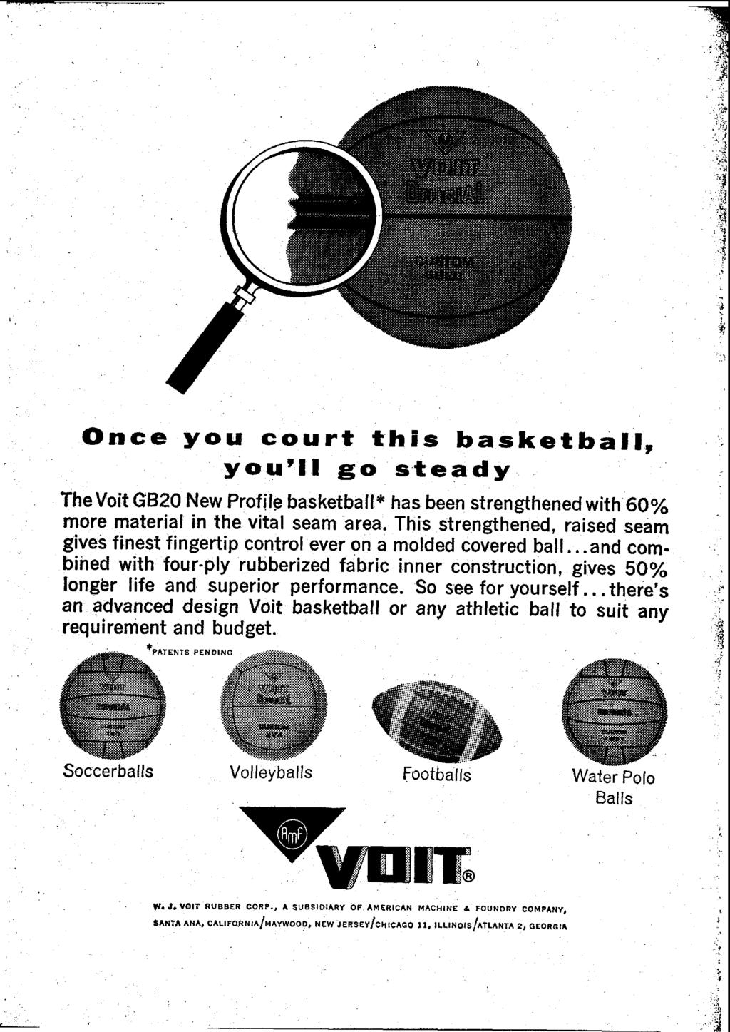 Once you court this basketball, you'll go steady TheVoit GB20 New Profile basketball* has been strengthened with 60% more material in the vital seam area.