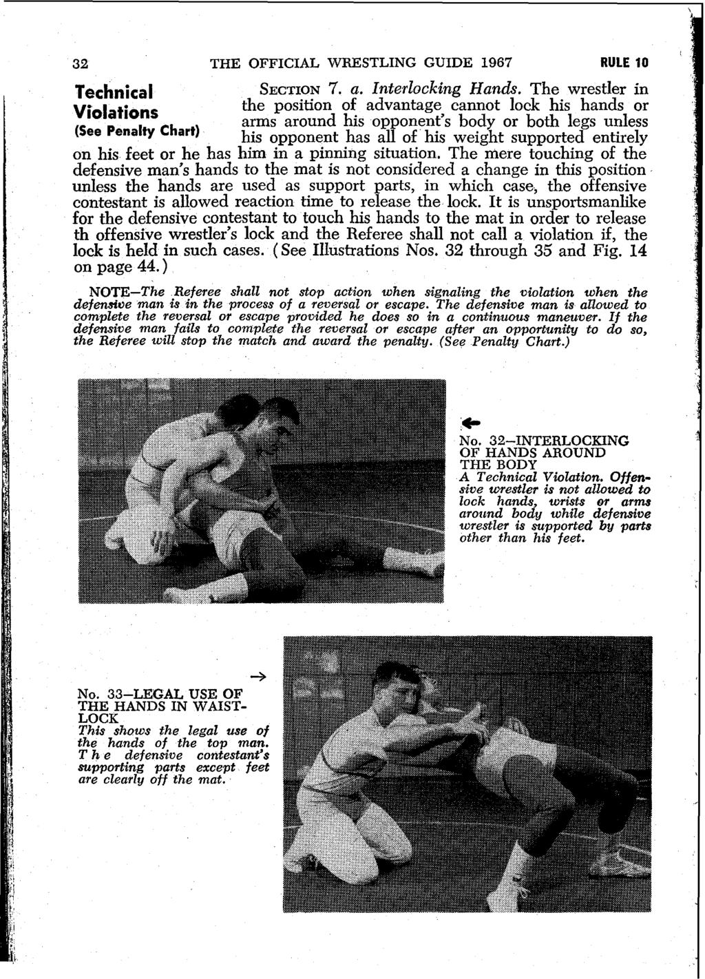 32 THE OFFICIAL WRESTLING GUIDE 1967 RULE 10 Technical SECTION 7. a. Interlocking Hands.
