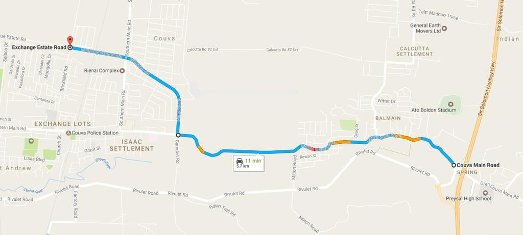 Course Elevation Directions to Reach Course Exit the Couva/Preysal Flyover and head WEST along the Couva Main Road for approximately 4km.