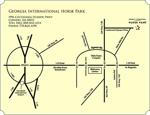 2017 DIRECTIONS TO THE HORSE PARK FROM I-285 - ATLANTA, TRAVEL EAST ON INTERSTATE 20 Take Exit 82 off