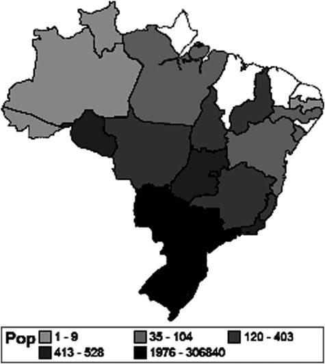 Population structure of the Brazilian Crioula Horse 3 ( f ij ) were computed averaging all pairwise coancestry coefficients of the individuals belonging, respectively, to a given breed i or to two