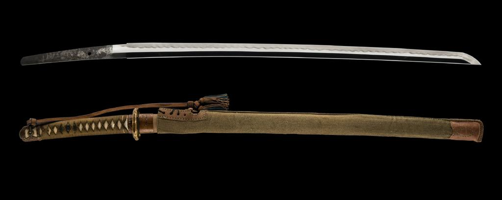 item# ujgu018 A TERUHIDE ARMY OFFICER KATANA signed, early showa period (circa wwii) currently available Swordsmith: TERUHIDE Location: Musashi province (modern-day Tokyo) Measurements: Length: 66.