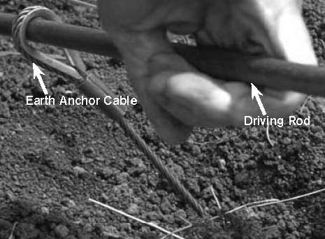 Note: No more than 30 cm (12 in) of earth anchor cable should be out of the ground once it has been locked into place. 10. Finish installing the remaining three earth anchors as described above.