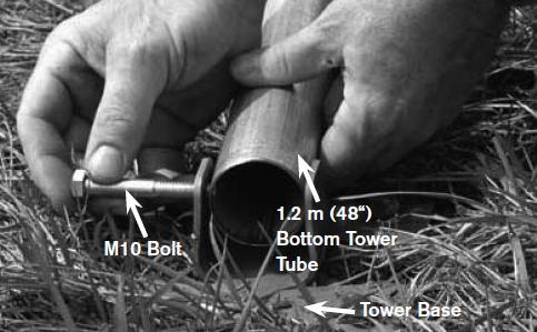 Join the tower tubes together using a soft-faced mallet or hammer. Use a piece of wood between the tube and the mallet to protect the end of the tube.