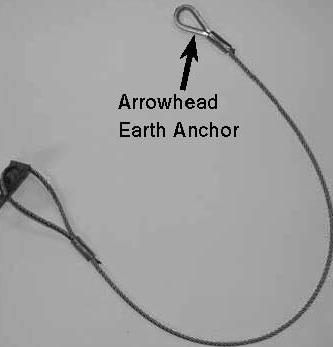 Arrowhead Earth Anchors 1. Position the first earth anchor on the ground along the tower tilt axis, 4.6 m (15 ft) from the tower base. 2. Place the second earth anchor along the tower tilt axis, 4.