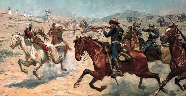 This depiction shows a U.S. Army troop fighting a Plains Native American tribe.