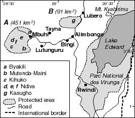 D. R. CONGO Area of the planned Tayna Gorilla Reserve (Mt. Kyabirimu is also known as Mt. Tshiaberimu) Redrawn from a map by J.C. Kyungu cal chiefs regarding the necessity for biodiversity conservation in that area.