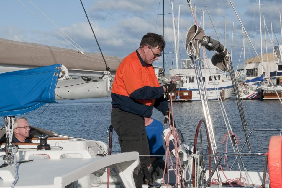 At Derwent Sailing Squadron, last minute preparations keep Don Kerr busy under