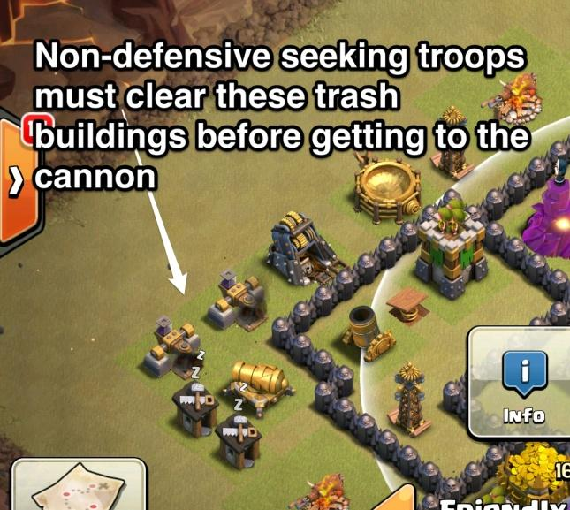 Protecting defenses There are two situations outside of Troop Pathing where you must protect certain defenses with other buildings.