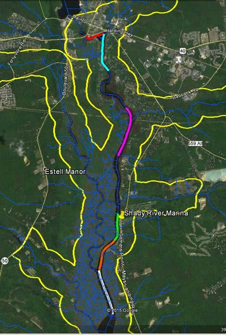 The 6 upstream trawl sampling sites accessed from Shady River Marina are shown on Map 2.
