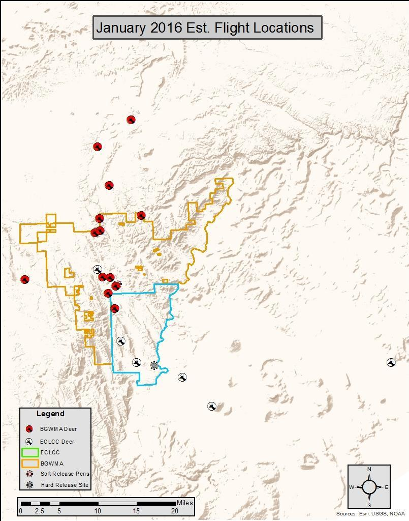 Figure 5. Estimated locations of radio-collared mule deer during January 2016 telemetry flights. Of the 9 recovered radio-collars from mortalities, 3 were GPS radio-collars.
