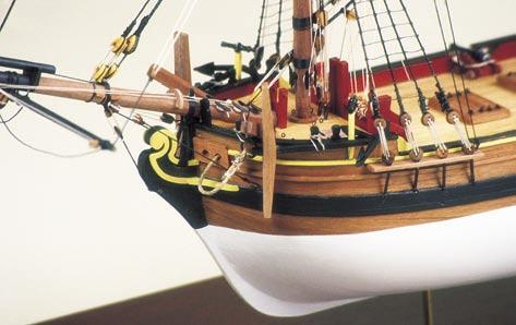 Fittings include the cannons, anchors, windows, blocks etc. Rigging thread in natural and black is included.