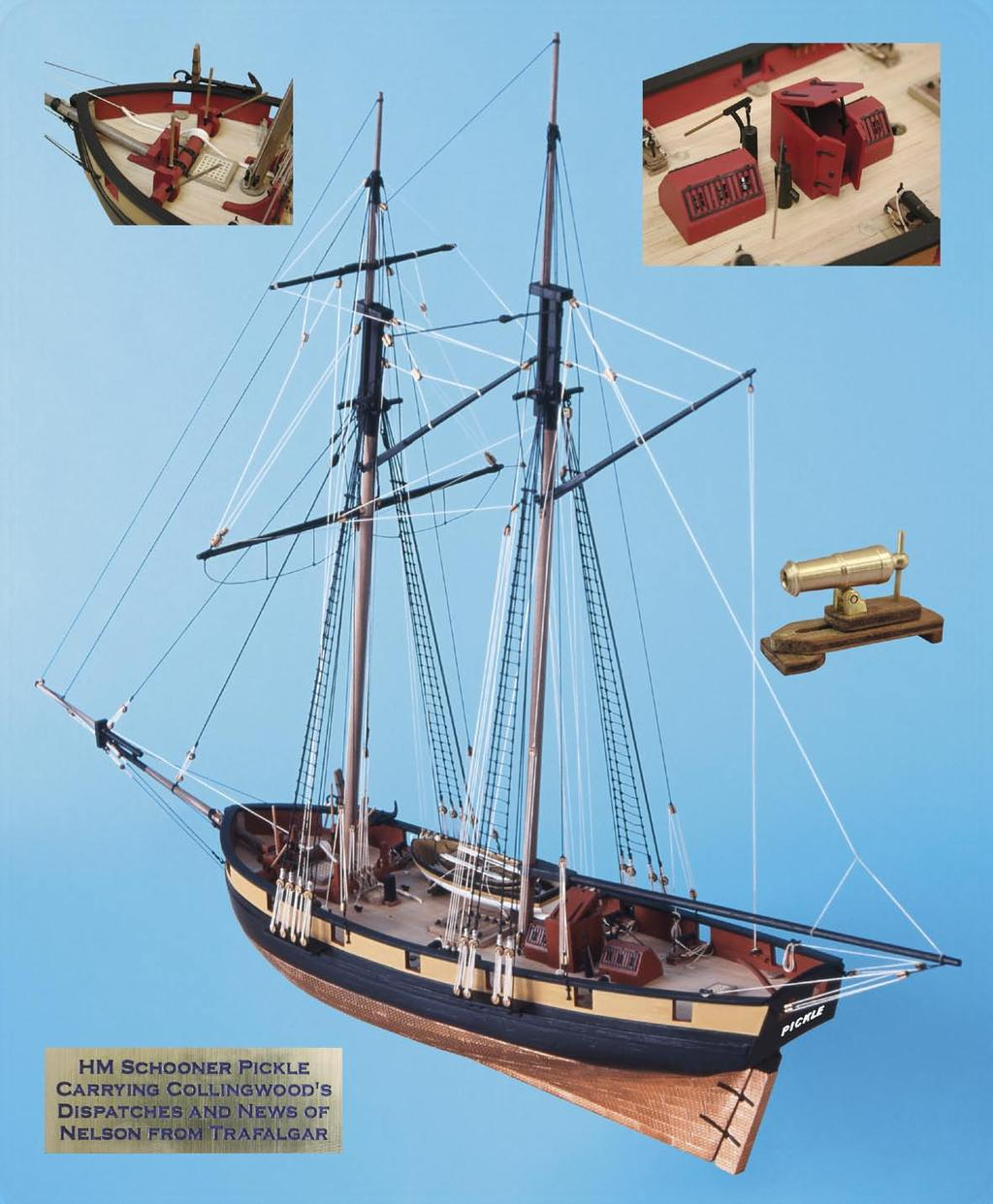 HERITAGE SERIES ~ HM SCHOONER PICKLE Kit includes: Double plank on bulkhead construction in lime and walnut; all decking in high quality Tanganyika strip; 6 x 12pdr turned brass carronades, fully