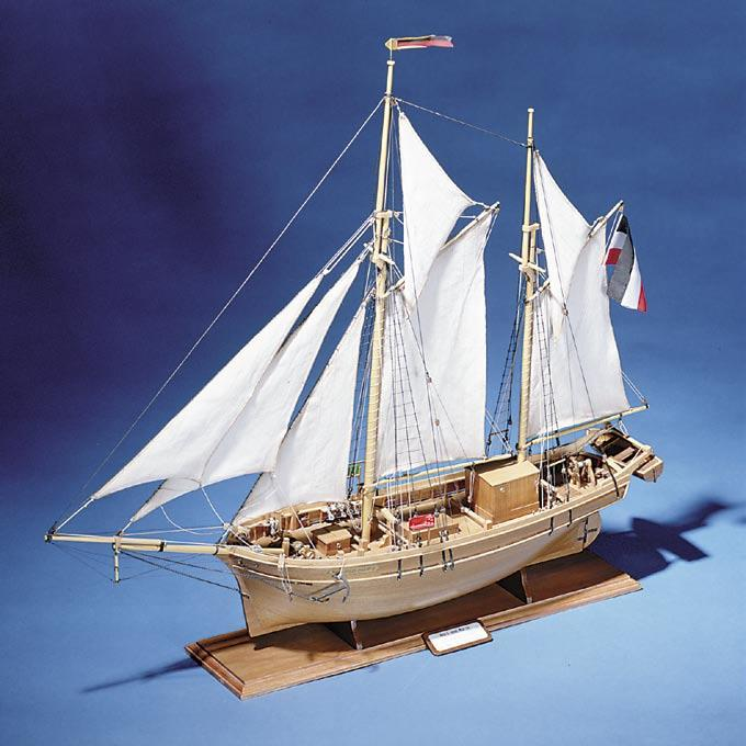 As with most ships of this period, she was built in England in 1834. She was bought by the Sardinian Navy for escort and mail duties. The kit features CNC cut keel and bulkheads.