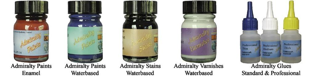 ADMIRALTY PAINTS, STAINS, VARNISHES & GLUES Admiralty Paints from Caldercraft are a new brand of paints specifically designed for modellers and the first range in this brand of paint has been