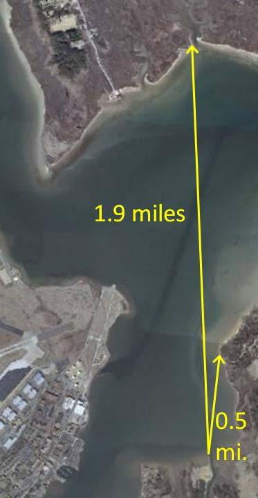 Example of a low fetch approximately 100 ft. across waterway, 600-800 ft. up and downstream all less than ½ mile.