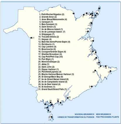 November 2007 2.1.2. Number and location There are currently 22 licensed snow crab processing plants in New Brunswick. Of the 22, only 12 were active in 2007.