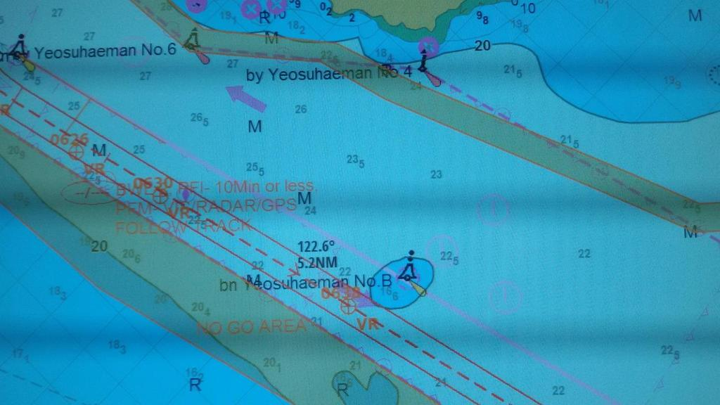 LEG 4: Pilot Station to Buoy B Instructions from Pilot: Pass slightly North of Buoy Yeosuhaeman No.B. Depth is slightly higher there.
