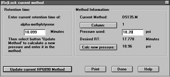 Enter the actual retention time of the target compound into the (Re)Lock current method dialog box (see figure 3). 3. Update the 6890 method with the new calculated pressure, and save the method. 4.