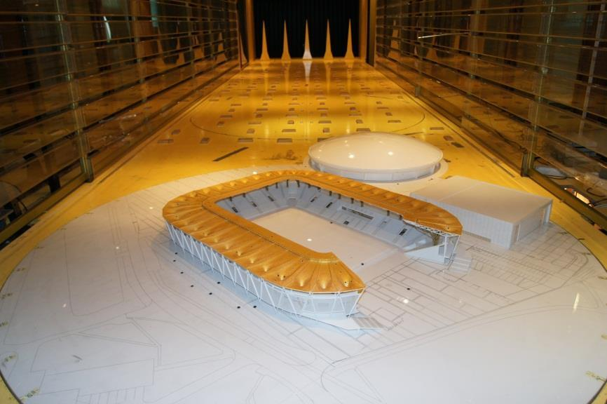 The stadium model was instrumented with 224 pressure taps (comp. Fig.5). Figure 5: Part of the model stadium roof with the pressure taps.