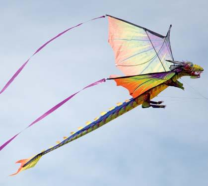 Box-shaped kites can hang still in the air for a long time.