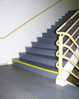 Step edges are highlighted for better visibility to prevent a misstep and fall down the stairs.