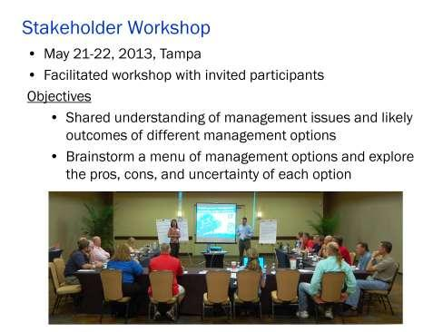 On Tuesday, May 21st and Wednesday, May 22nd, 2013, the University of Florida convened a Goliath Grouper Management Stakeholder Workshop in Tampa, FL.