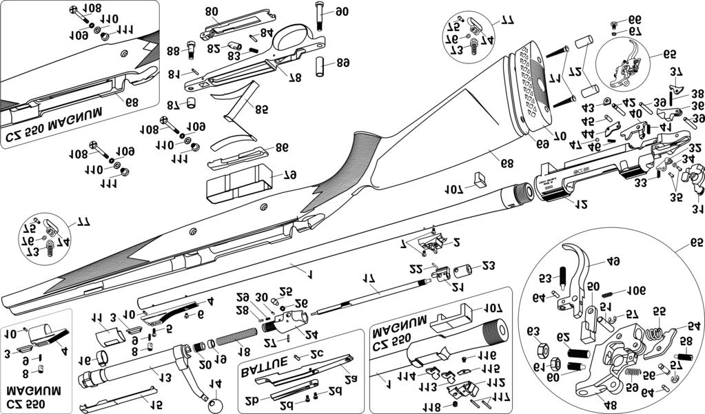 ILLUSTRATION AND LIST OF PARTS CZ 550